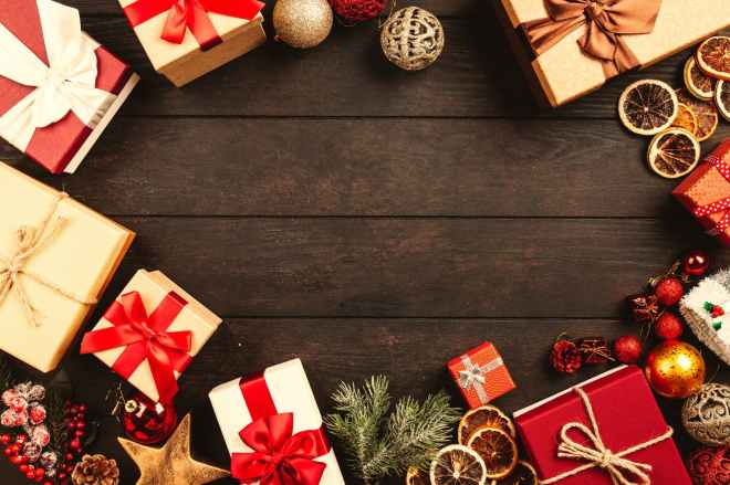 gift boxes on brown wooden board
